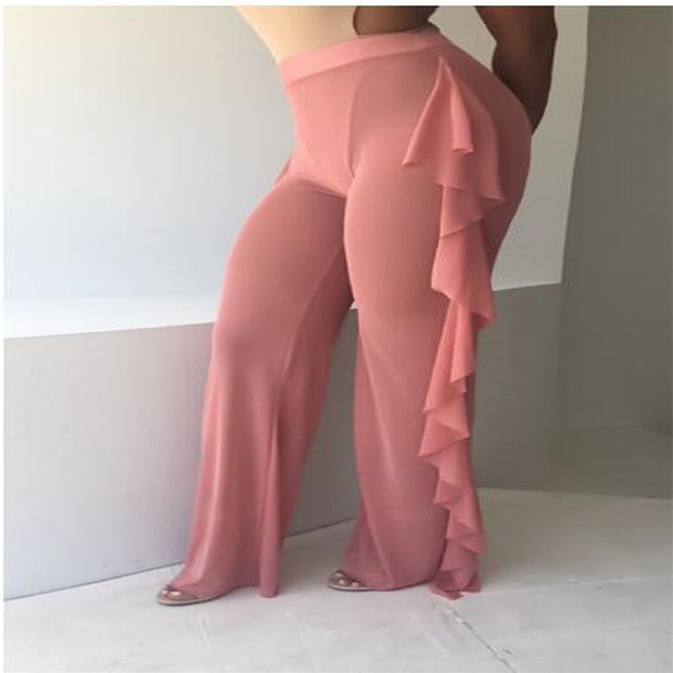 Women Beach Dress Mesh Sheer Bikini Cover Up Swimwear Bathing Suit Pant Trousers Jacobs Flounce Wide Leg Pants Pants
