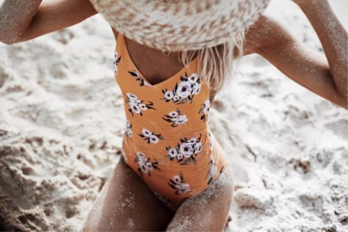 Women Bikini One Piece Monokini Sleeveless Yellow Floral Print Swimwear Bandage Backless Floral Swimsuit