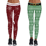 Women Christmas Print Tight-fitting Yoga Pants Winter Trousers #2o10