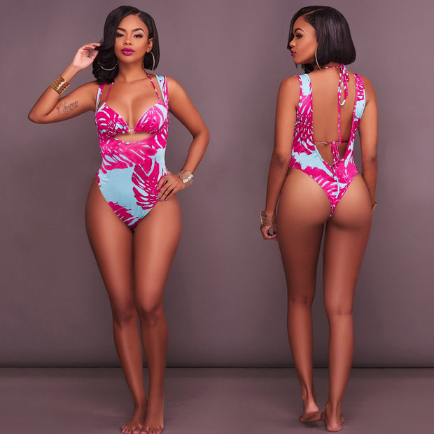 Women Elastic Printed Lace-up Bohemia Backless Halter Sexy Bikini Panties With Sleeve Swimming Bathing Beach Wear Swimwear