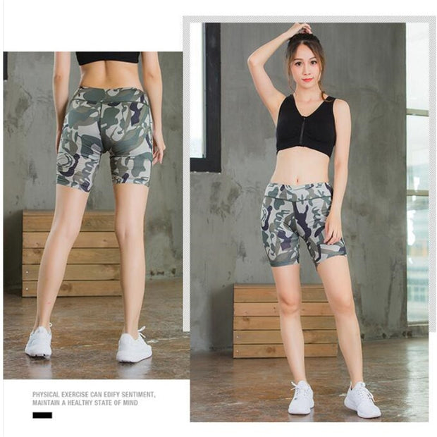 Women&Girls Shapers Pro Sport Tight GYM Fitness Running Shorts,3D Curves Camo Quick-dry Wicking Elastic YOGA Fifth Boxers Shorts