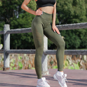 Women High Waist Yoga Solid Hollow Out Legging Running Sports Pants Trouser Seamless Stretchy High Waist Slim Workout Leggings