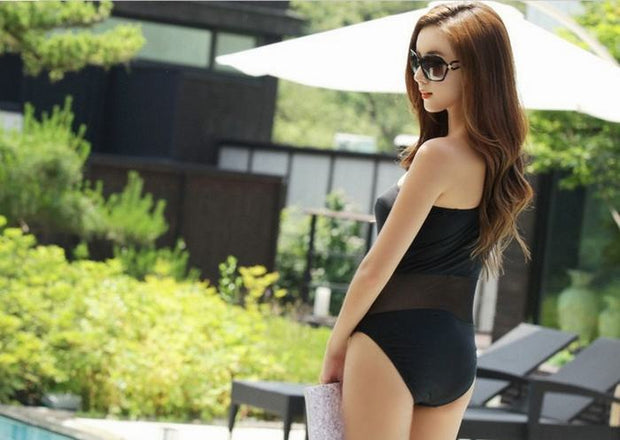 Women One Piece Swimsuit Vintage Swimwear Beach Mesh One Shoulder Swimsuit Black Sexy Monokinis