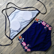 Women Push Up Padded Bra Floral Halter Bandage Hight Waist Bikini Set Summer Monokini Swimsuit Triangle Swimwear Bathing Suit
