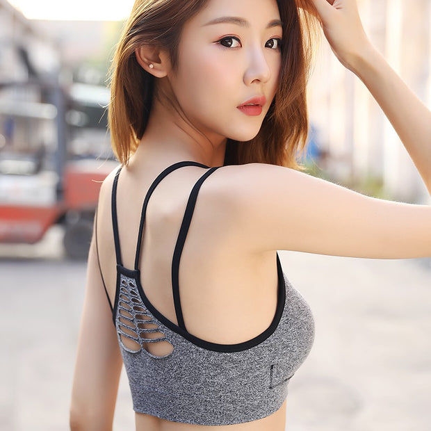 Women Quick Dry Sports Bras Push Up Padded Wire Free Shockproof Running Fitness Yoga Sports Brassiere Tops Female Bra