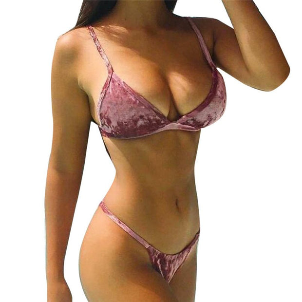 Women Sexy Bikini Set Solid Swimwear Push-Up Padded Bra Beachwear Bikini Swimsuit Bathing Suit Bikinis 2019 Mujer 40A31