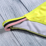 Women Sexy Color Blocking Strap Two-piece Swimwear Bikini Set Suit Swimming Suits Wire Free Stylish Fashion Beach Suit