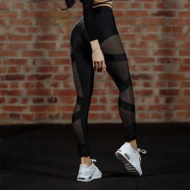 Women Sexy Ladies Running Yoga Pants Hollow Mesh Elastic Waist Fitness Leggings Gym Exercise Sports Stretch Pants Trousers