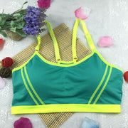 Women Sexy Patchwork Seamless Racerback Padded Fitness Sport Bra Wire Free Sleeveless Summer Running, Yoga
