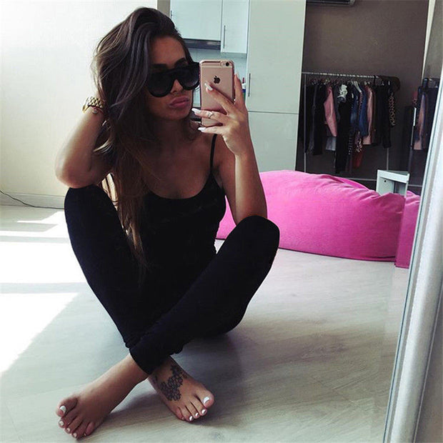 Women Sexy Spaghetti Strap Running Pants Low-Cut Backlesss Pants Women One Piece Sleeveless Slim Suit Fitness Pants