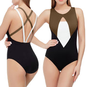 Women Sexy Sport Thong Bikini Monokini Swimsuit Criss Cross Bandage Swimwear Bathing Patchwork Beachwear Hollow V Neck Bodysuit