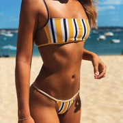 Women Sexy Two Piece Bikini Set Square Neckline Spaghetti Straps Open Back Bra Low Waist Thong Contrast Color Vertical Stripes P