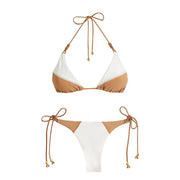 Women Sexy Two-tone Solid Color Bikini Set Lace Hanging Neck Lumbar Open Back Push Up Swimsuit Summer Sun Swimsuit 2019 Mai