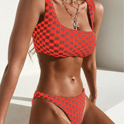 Women Spaghetti Strap Plaid Padded Low Casual, Criss Cross Waist No Yes Swimwear Summer, Autumn Bikini Set