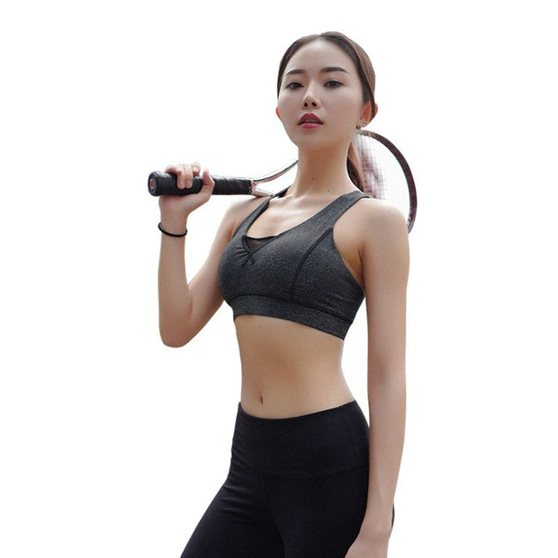 Women Sports Bras Fitness Gym Seamless Bra Crop Tops Sports Shockproof Brassiere Yoga Padded Running Jogger Push Up Sport Bra
