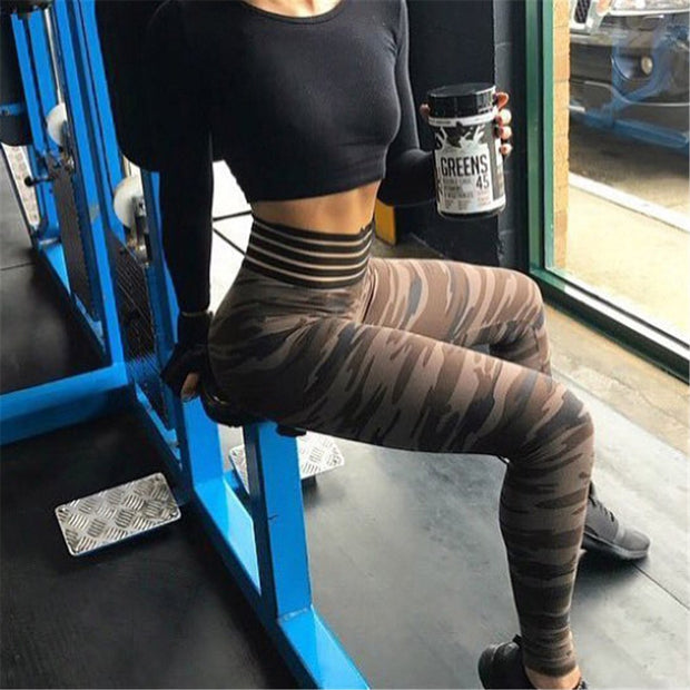 Women Yoga Pants Camouflage Fitness Leggings Tights Push Hips Running Sportswear Sport Pants Quick Drying Training Trousers