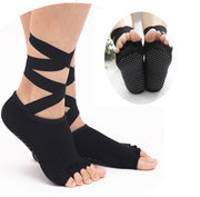 Women Yoga Socks Ladies Gym Yoga Sock Dancing Pilates Socks Anti-slip Five Toe Cotton Massage Sock With Ribbon