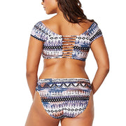 Women's Swimming Suit 2019 Sexy Bikini Swimsuit Women's Plus Size Print Striped Split Swimsuit Beachwear Bikini Swimsuit