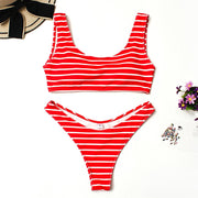 Women's Swimming Suit Sexy Bikini Swimsuit Women's Fashion Stripe Solid Color Cute Split Swimsuit Beachwear Bikini