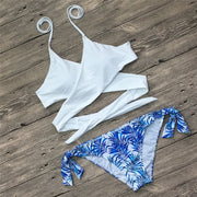 Women's Swimming Suitcross-bared Swimsuit Bikini Set Split Swimwear Swimsuit Push Up Girl Beachwear Bathing Suits #J20#F