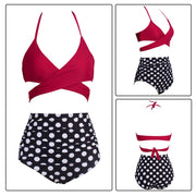 Women Swimsuit Female Padded Sexy High Waist Halter Lace-up Beach Suit Dot Print Bikini Swimwear Swimming Suit For Women #8