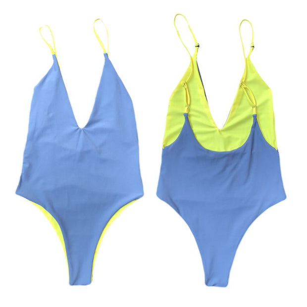 Womens Sexy Bikini Color Block Reversible Monokini Plunging Deep V-Neck Backless High Cut Unpadded Swimwear Bathing Drop Ship