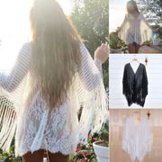 Womens Tassel Beach Dress Swimwear Lace Crochet Bikini Cover Up Beachwear Bathing Suit