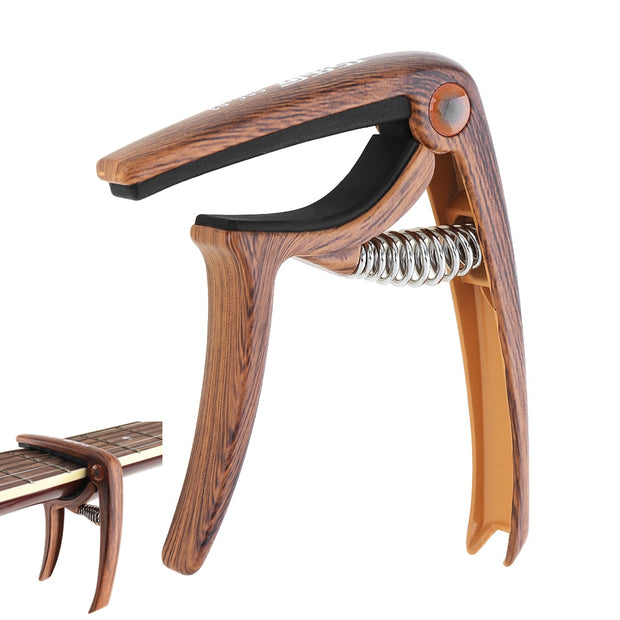 Wood Grain Metal Guitar Capo With Pin Puller For Guitar Ukulele Tuning Guitar Parts & Accessories