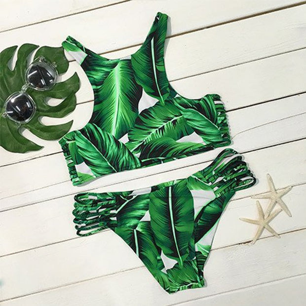 YICN 2018 Sexy High Neck Bikini Swimwear Women Swimsuit Brazilian Bikini Set Green Print Halter Top Beach Wear Bathing Suits