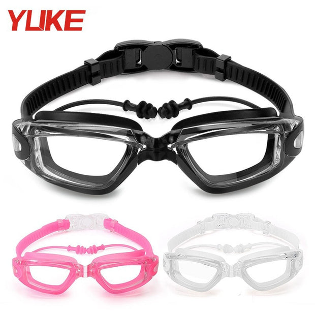 YUKE Men Women Black White Pink Professional Swim Eyewear Outdoor Sports Anti-fog Swimming Goggles Earplugs HD Glasses Frame