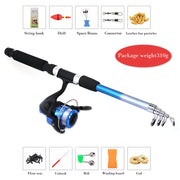 YUKUI Fishing Rod Reel Combo Full Kit 1.8m Telescopic Fishing Rod Spinning Reel Set With Hooks Lures Barrel Swivels Storage Bag