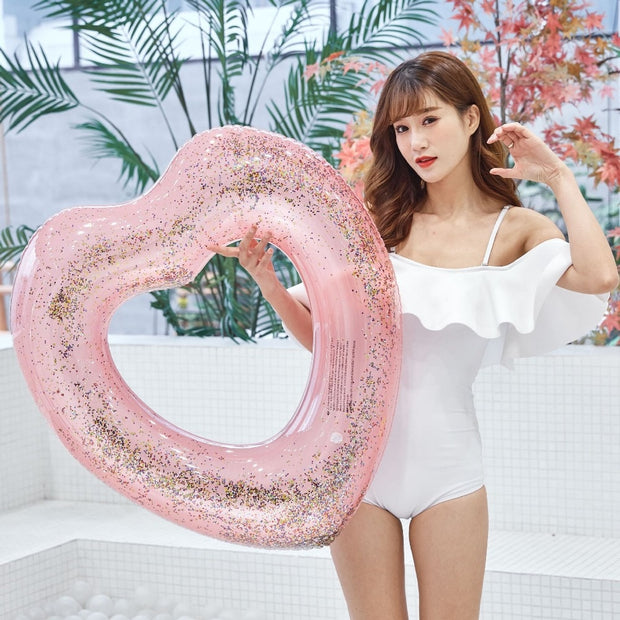 YUYU Inflatable Shiny Pool Float Heart Swimming Ring Shining Love Circle Pool Ring Swimming Float Heart Tube Swim Ring Pool Toy