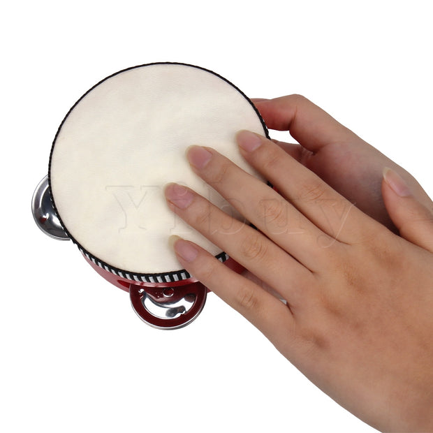 "Yibuy 4""Pure Natural Color Musical Sheepskin Tambourine Round Drum For Children"