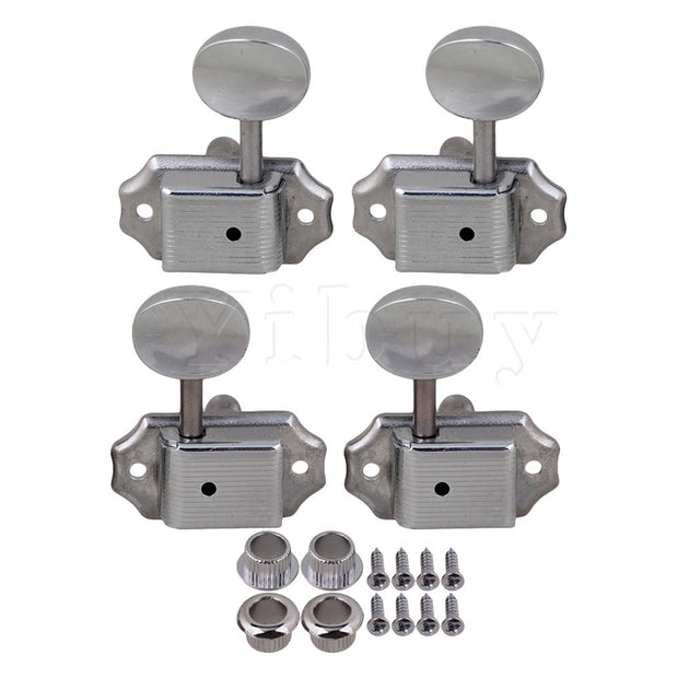 Yibuy Chrome Semiclosed Ukulele Tuning Pegs Tuning Machine Heads 2R 2L Concave Handle
