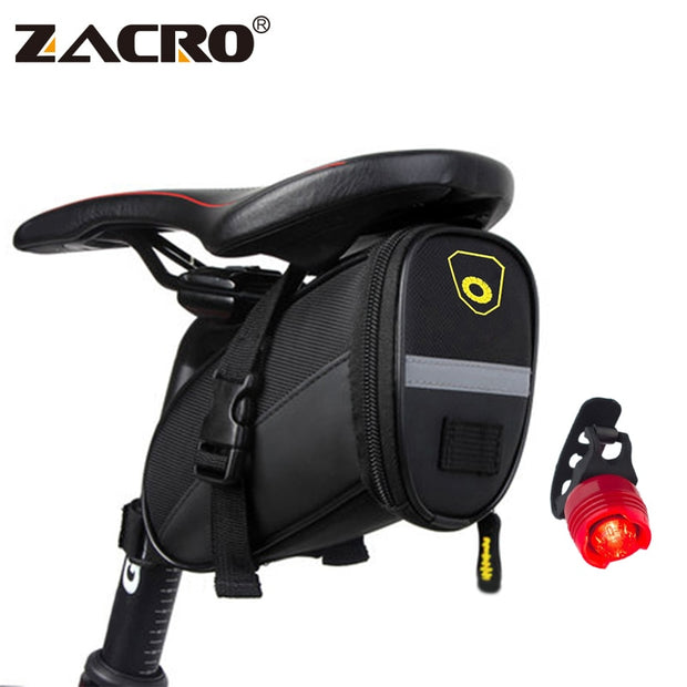 Zacro Bicycle Bike Saddle Bag Cycling MTB Bycicle Bike Rear Bag Reflective Seat Saddlebag With 3 Mode Taillight Bike Accessories