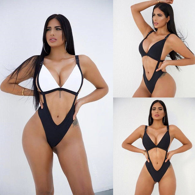 Bikini 2018 Summer New Sexy Simple Bikini Black White Cutout Low Waist High Elasticity High Quality Swimwear