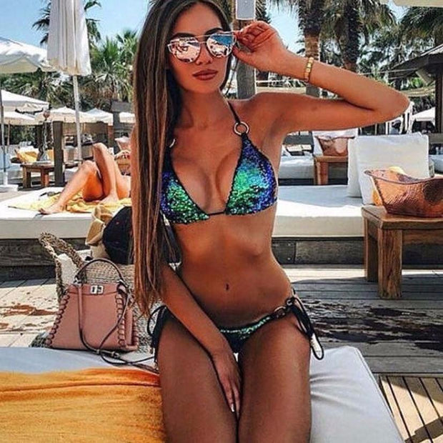 Bikini Brasileira 2017 Womens Sequins Bra Slim Waist Set Push Up Beach Swimwear Bathing Swimsuit Tankini