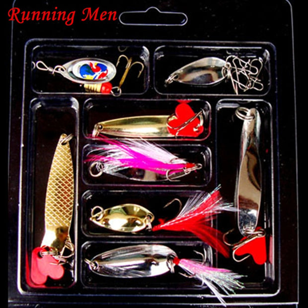 Fish Mixed Colors Fishing Lures Spoon Bait Metal Lure Kit Iscas Artificias Hard Bait Fresh Water Bass Pike Bait Fishing Geer