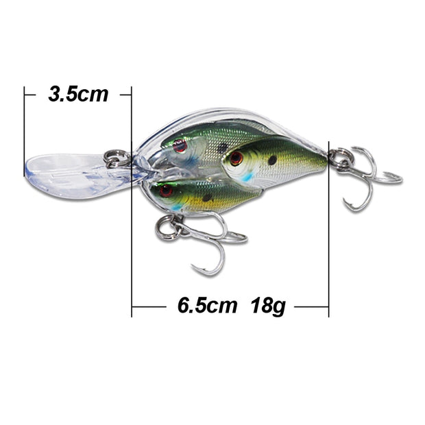 ILure Fishing Crankbaits Lure 65mm 18g Crank Bait Diving Depth 0-2.5m VMC Hook Isca Artificial Leurre Peche For Casting/Trolling
