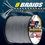 New Cross-woven 100M Pe Braided Fishing Line Ocean Fishing 8strands Spectra Black&white 150LB Fishing Cords For Saltwater