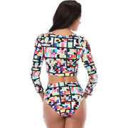Sexy Bikini Low Waist Printed Women Flower Swimwear Long Sleeve Female Swim Suit Swimming Beach Bathing Wear Big Size L To 5XL