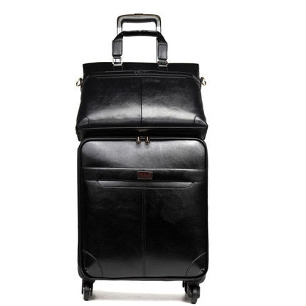 Retro PU Leather Rolling Luggage Set