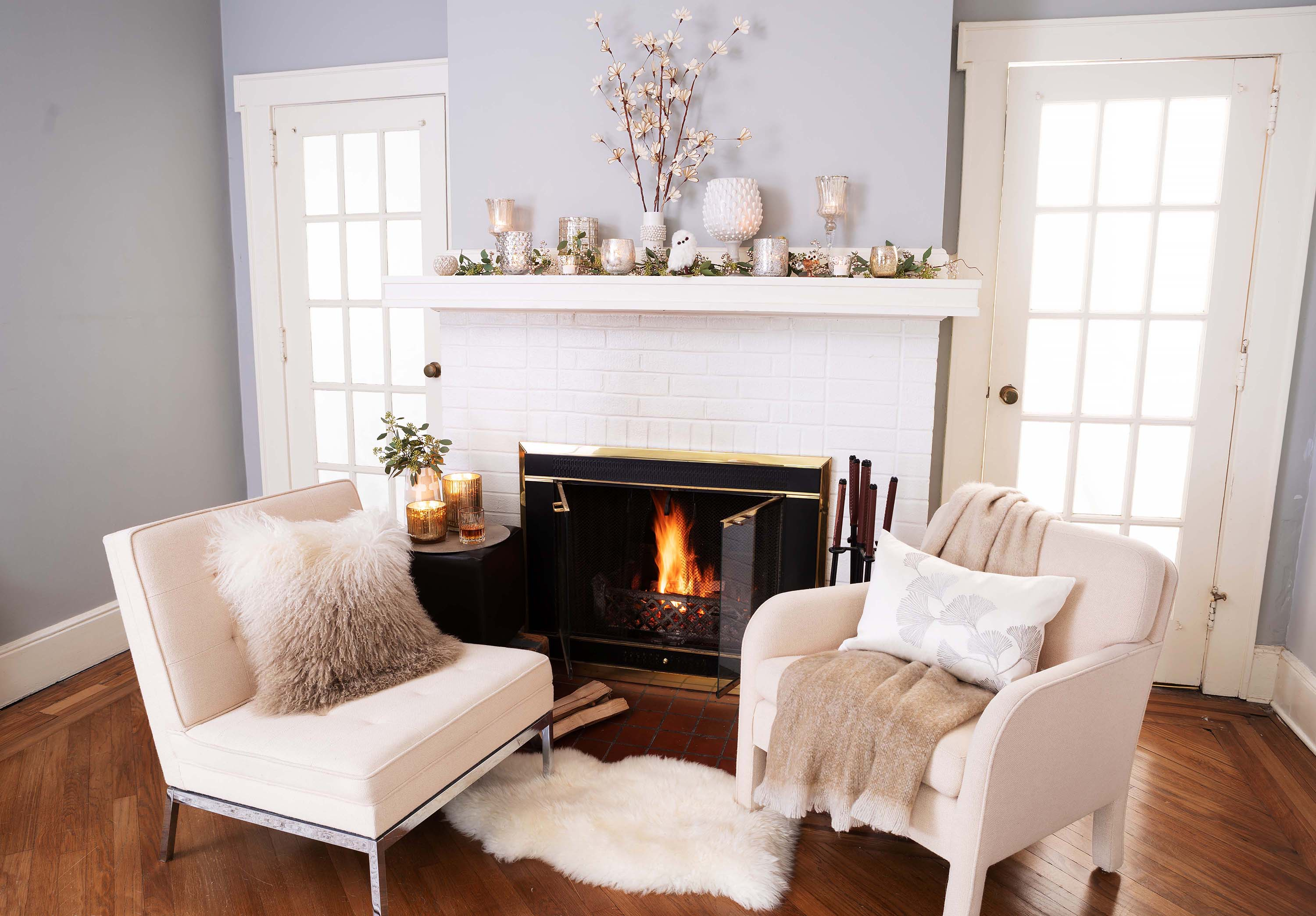 A fireplace mantel perfect for winter