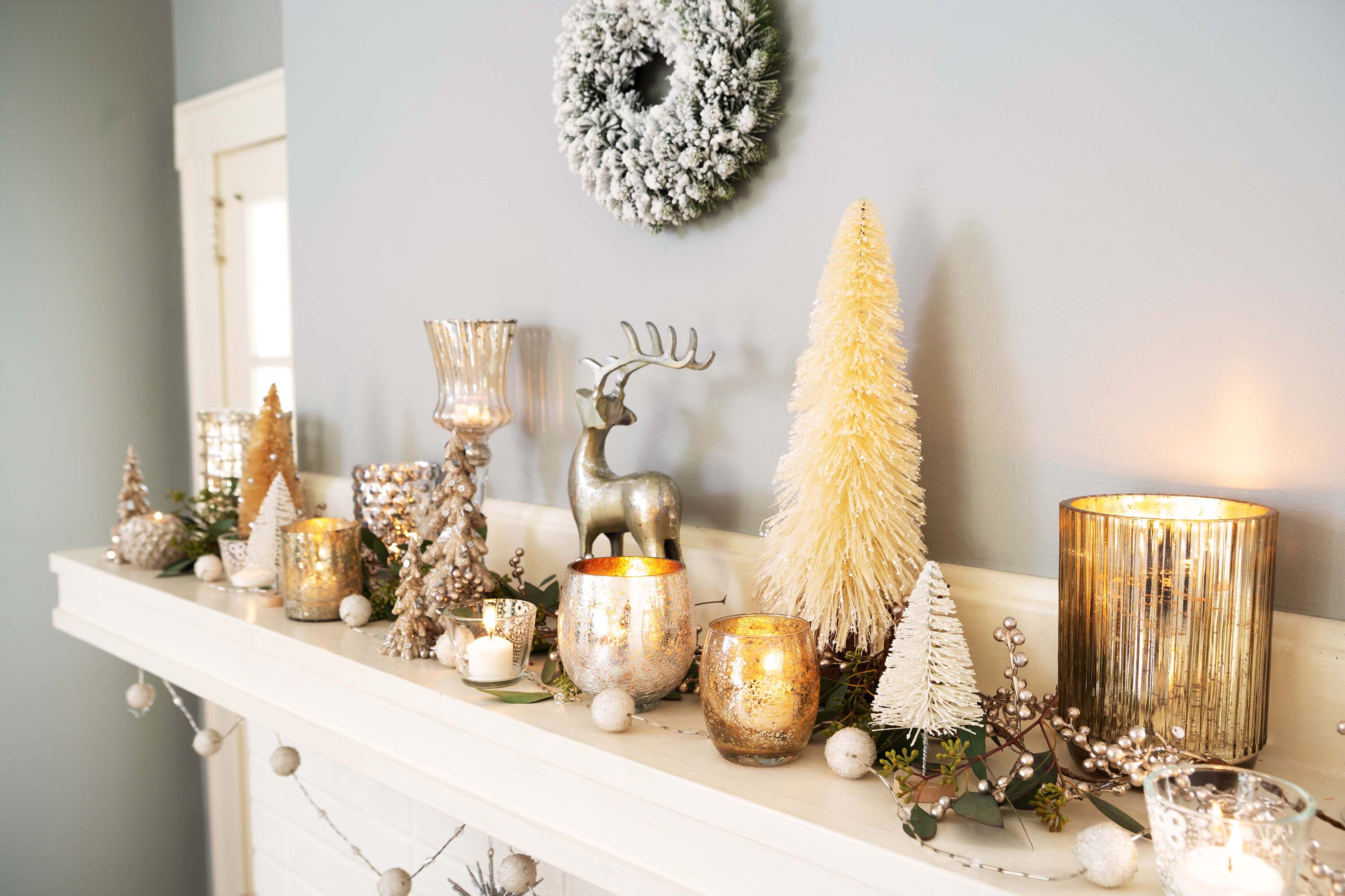 A decorated fireplace mantel