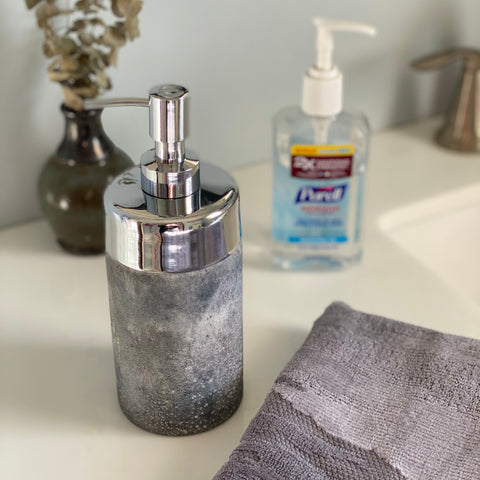 Using a soap dispenser to store hand sanitizer