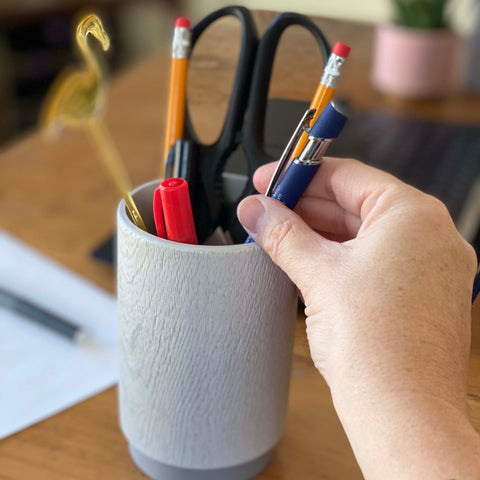 DKNY Grey Wood Tumbler as a pencil holder