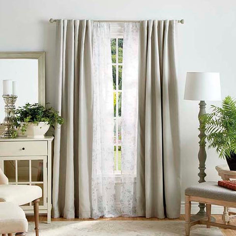 Martha Stewart Bedford Woven Plaid Backtab Curtain Panel (Set of 2)