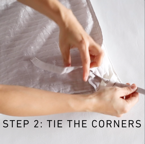 Step 2 to fill a duvet