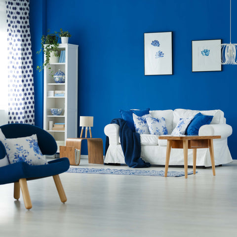 A room decorated in blue