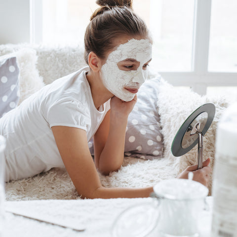 woman doing a at home facial